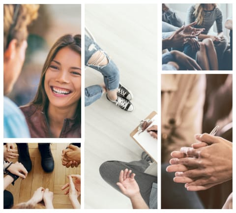 Collage of happy people interacting with Jessica Stone's training programs.