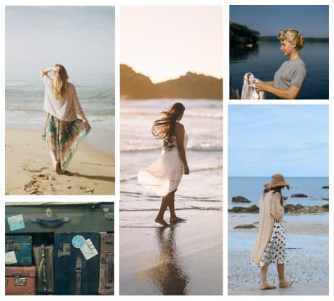 Collage of women at peace walking on the beach.